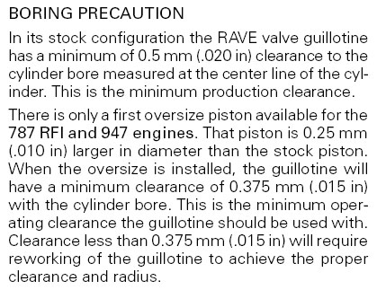 951 Rave Valve Clearance